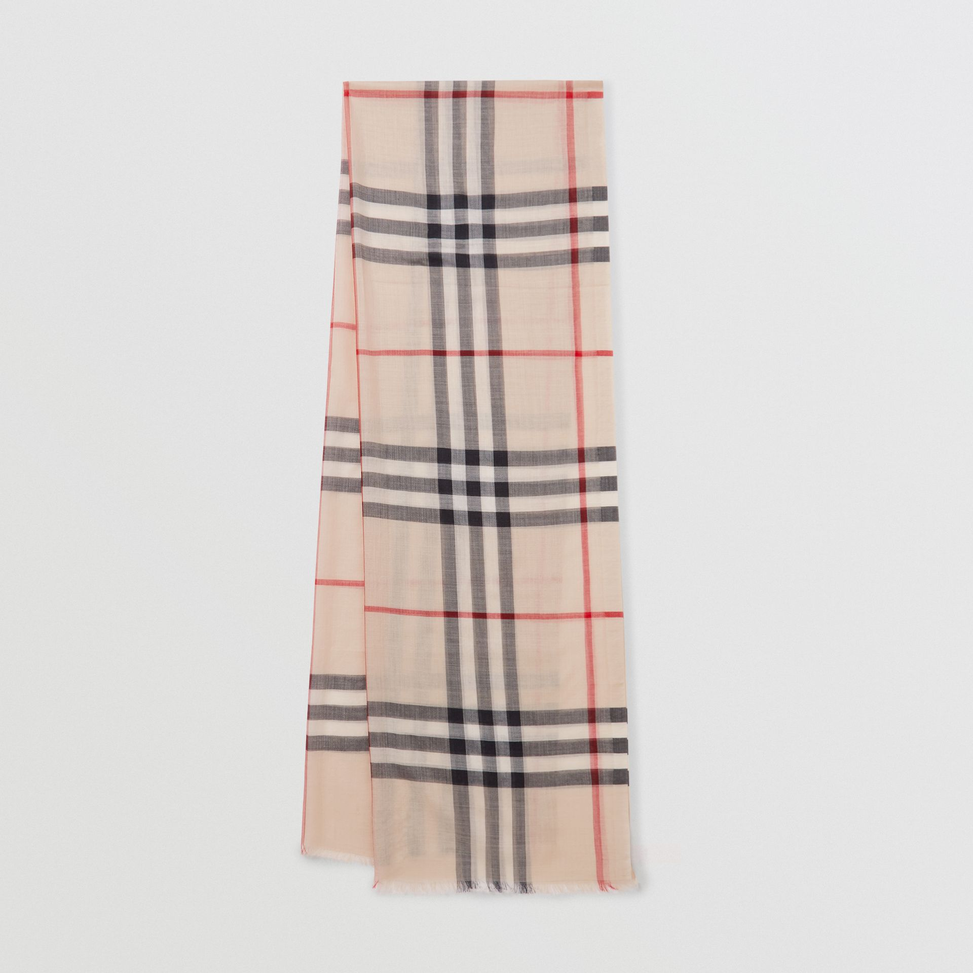 Lightweight Check Wool and Silk Scarf in Stone - Women | Burberry - gallery image 0