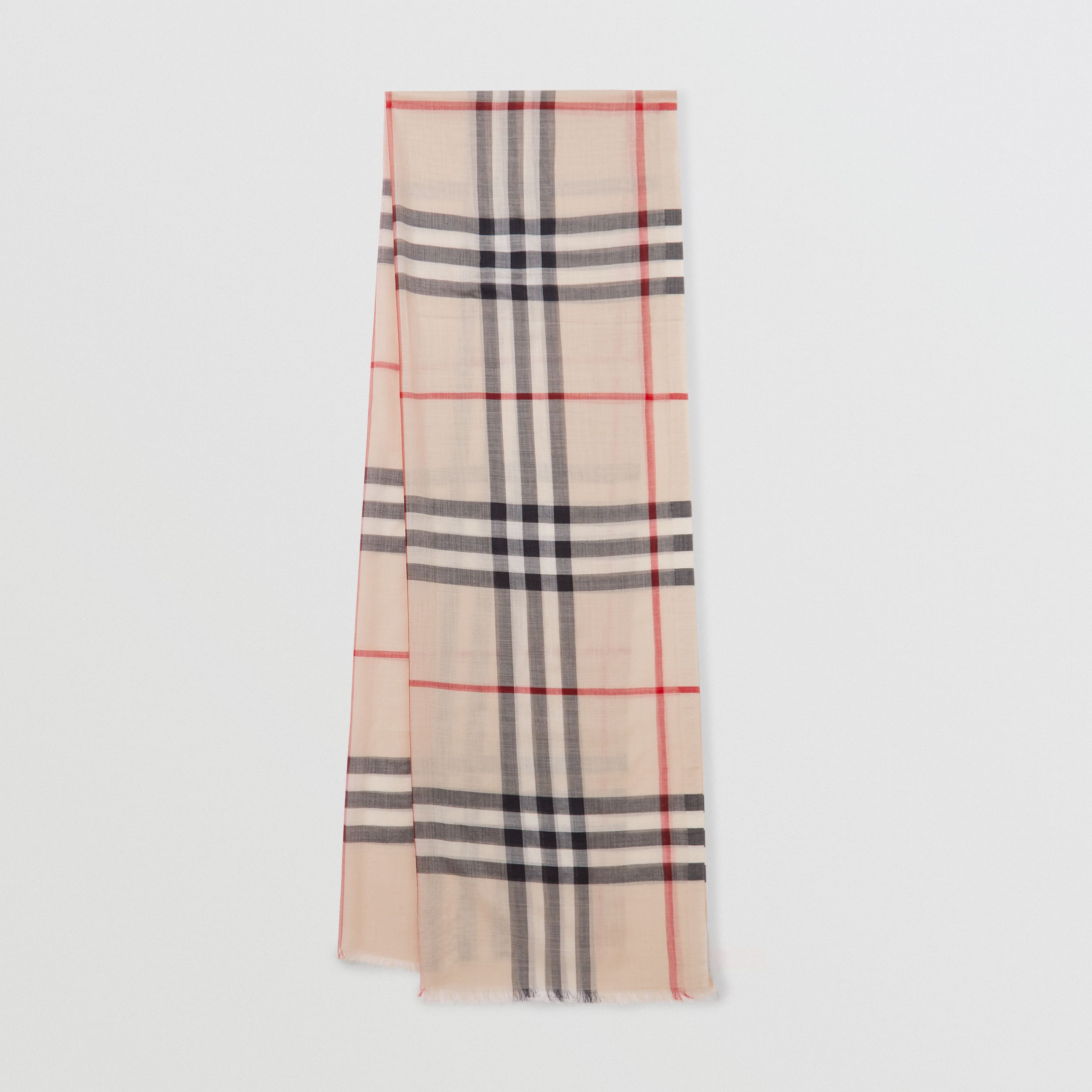 Lightweight Check Wool and Silk Scarf in Stone | Burberry - 1