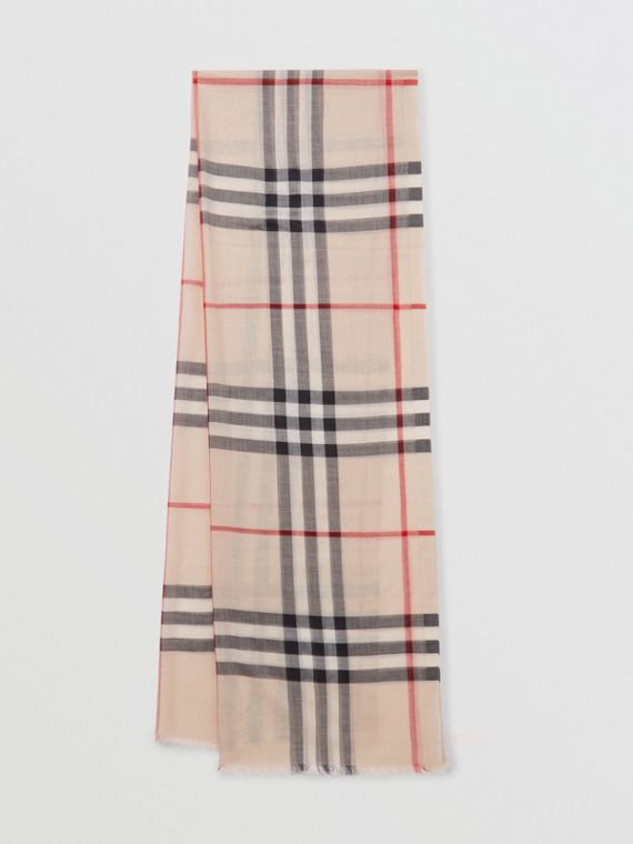 Lightweight Check Wool and Silk Scarf in Stone
