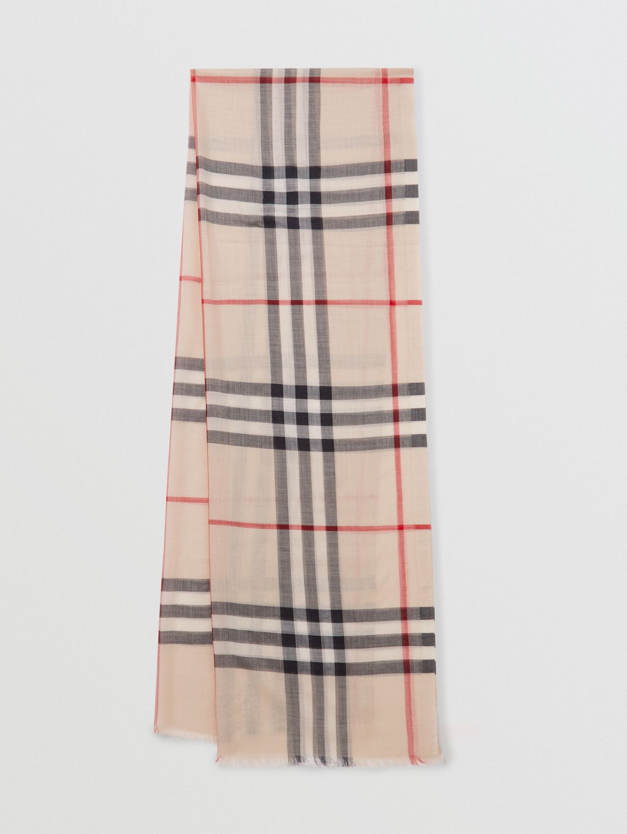 Lightweight Check Wool and Silk Scarf (Stone)