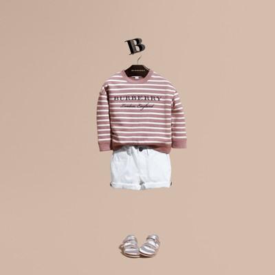 Striped Cotton Sweatshirt in Pink Azalea Melange