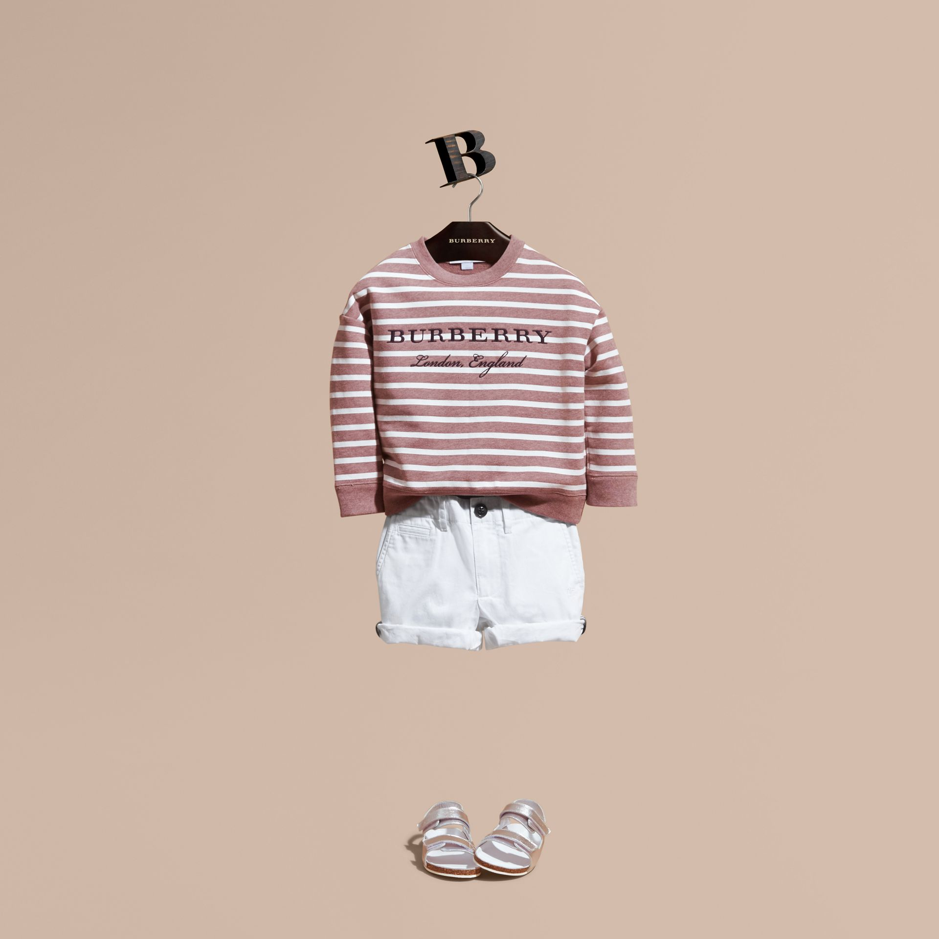 Striped Cotton Sweatshirt in Pink Azalea Melange - gallery image 1