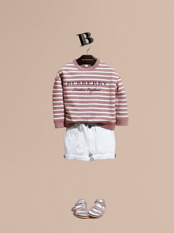 Striped Cotton Sweatshirt in Pink Azalea Melange - Girl | Burberry Hong Kong