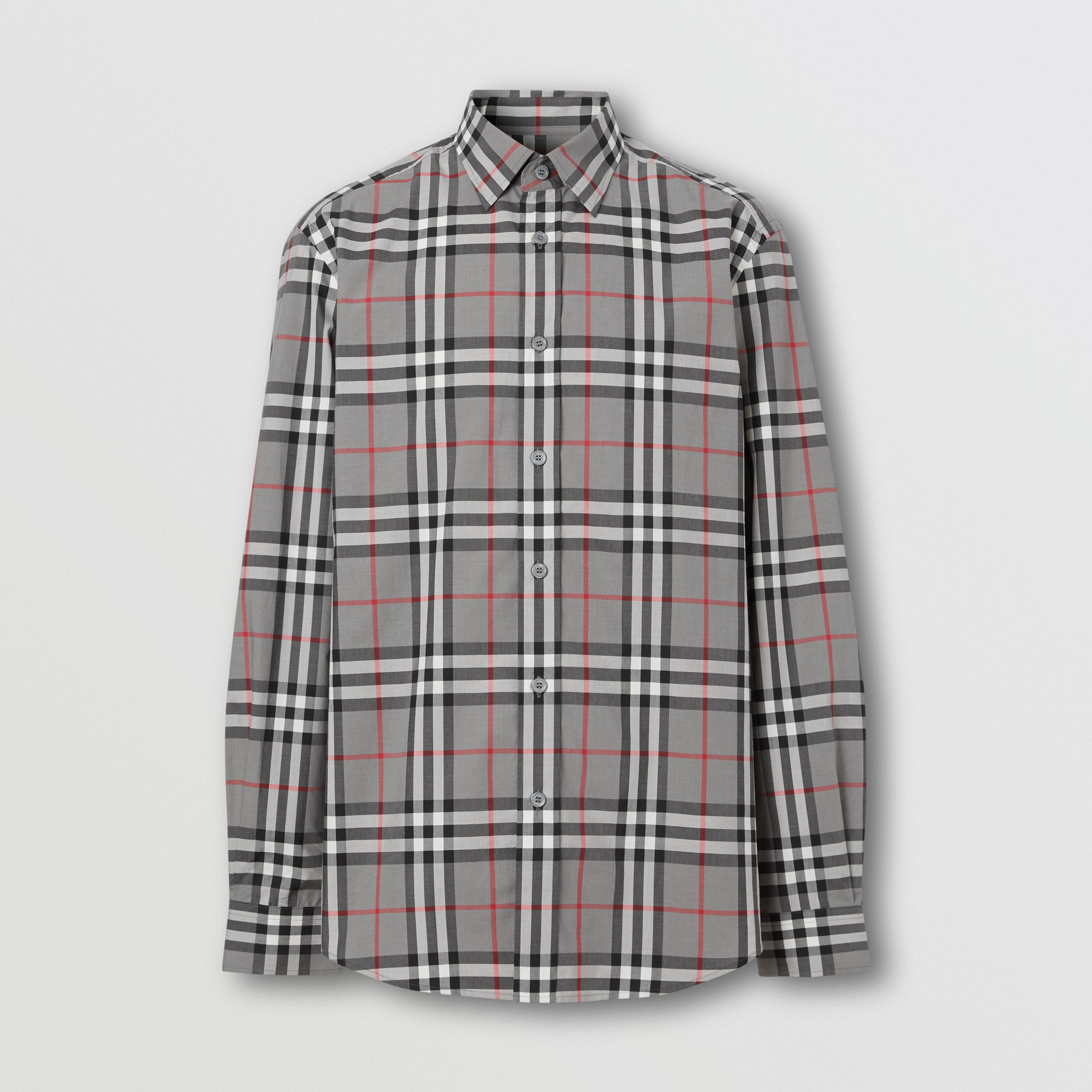 Check Cotton Poplin Shirt in Storm Grey Melange - Men | Burberry - 4