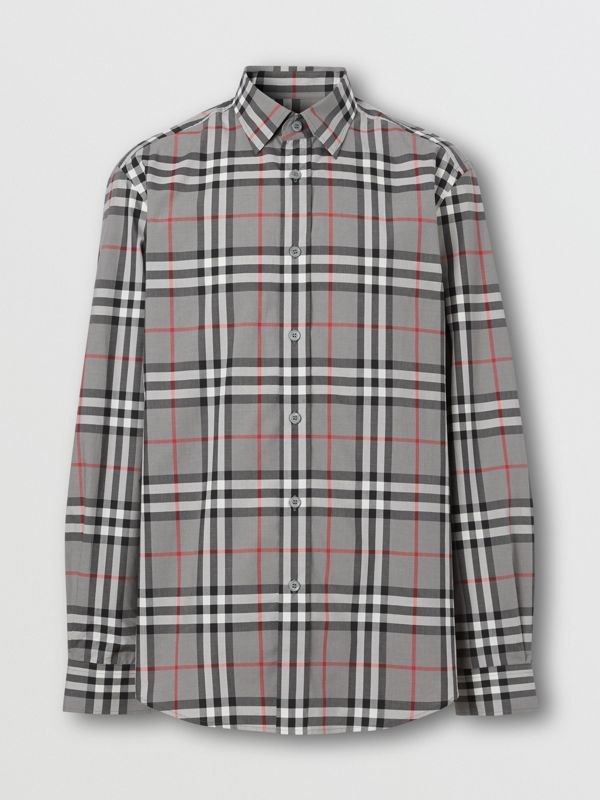 Check Cotton Poplin Shirt in Storm Grey Melange - Men | Burberry Hong Kong S.A.R - cell image 3