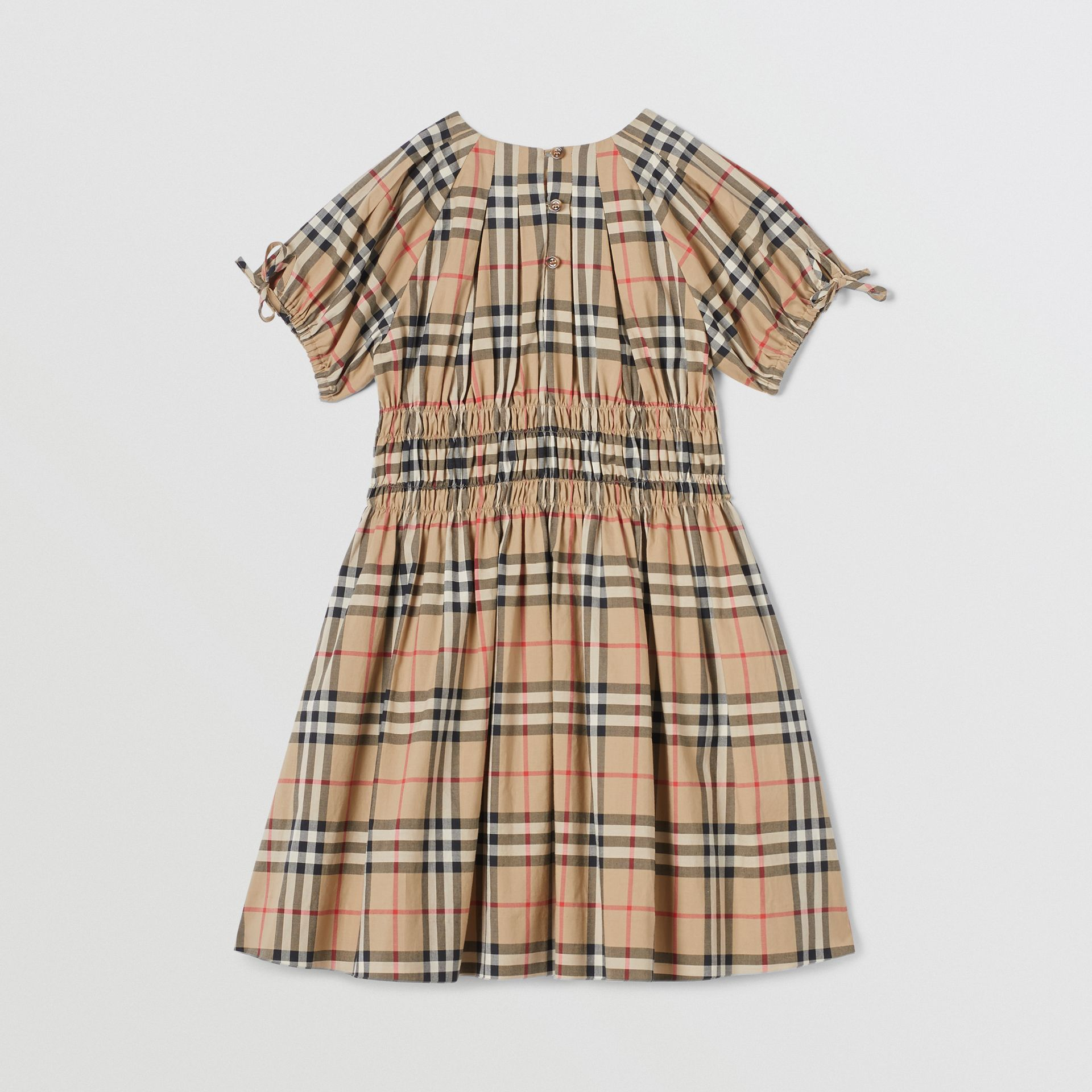 Ruched Panel Vintage Check Cotton Dress in Archive Beige | Burberry Hong Kong S.A.R - gallery image 3