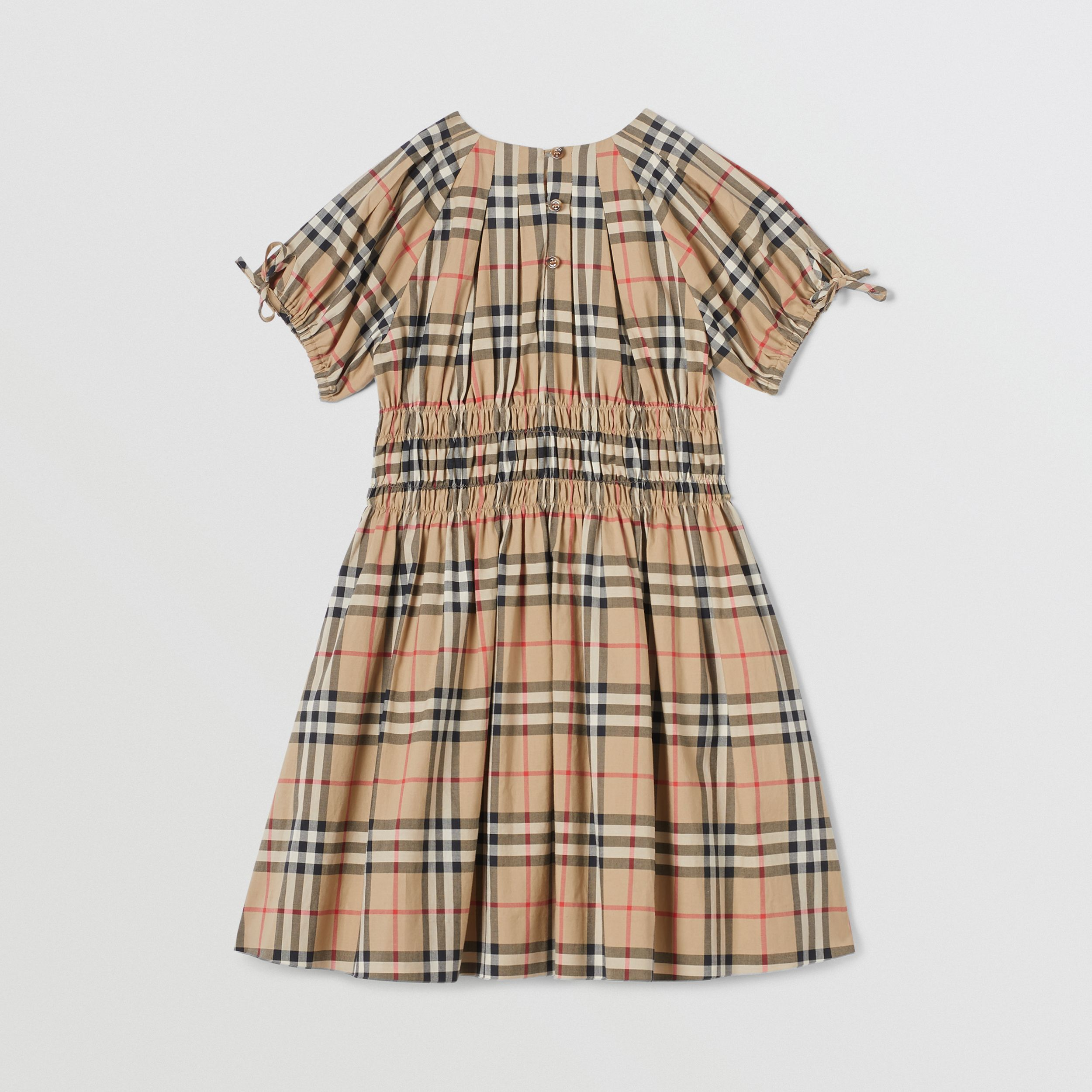 Ruched Panel Vintage Check Cotton Dress in Archive Beige | Burberry - 4