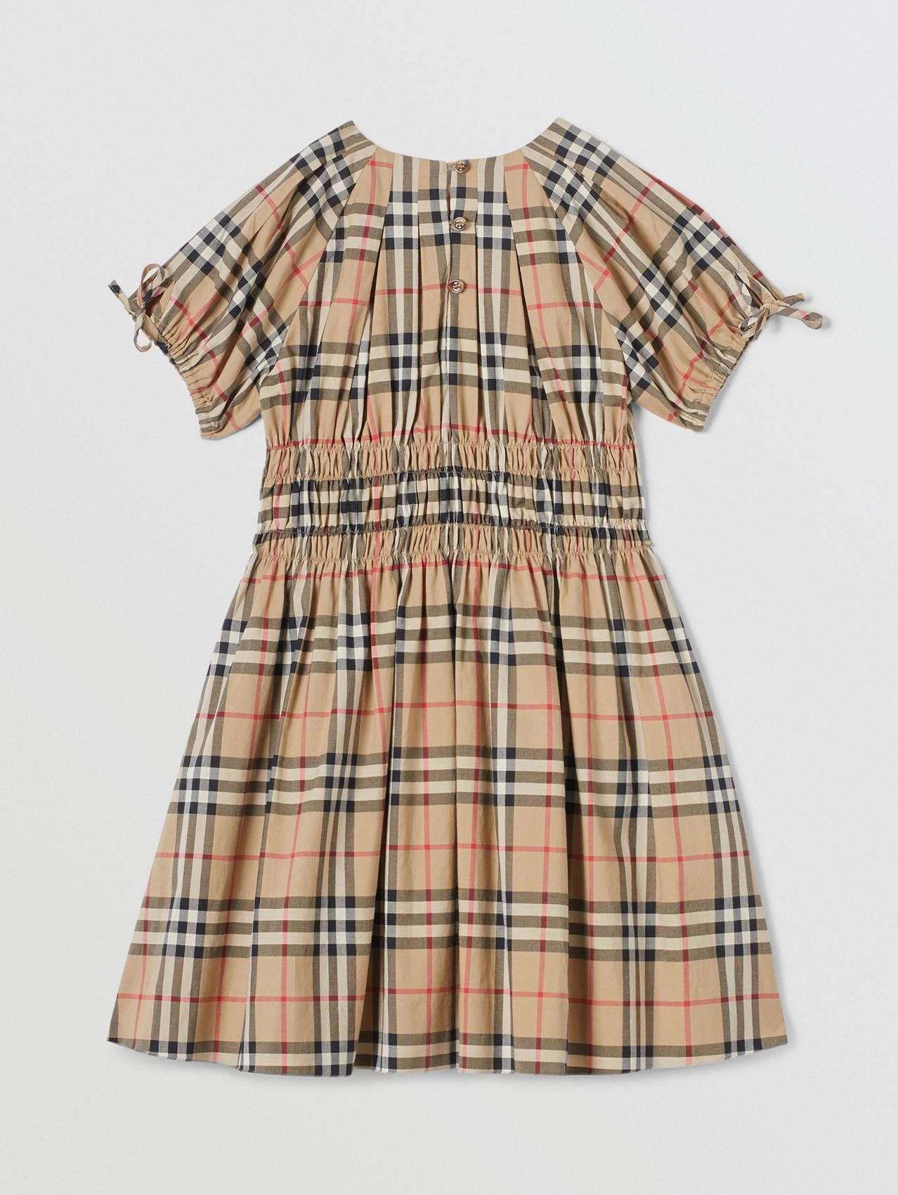 Ruched Panel Vintage Check Cotton Dress in Archive Beige