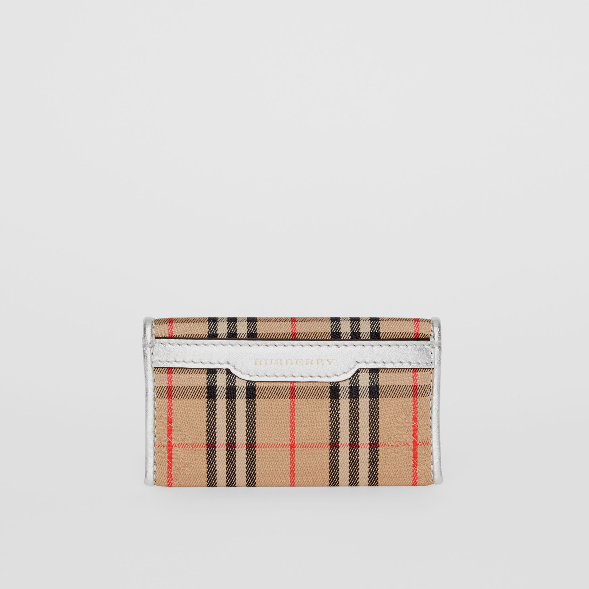 1983 Check and Leather Envelope Card Case in Silver - Women | Burberry - gallery image 5