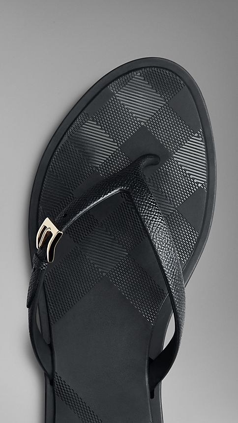 Black Embossed Check Flip Flops - Image 4