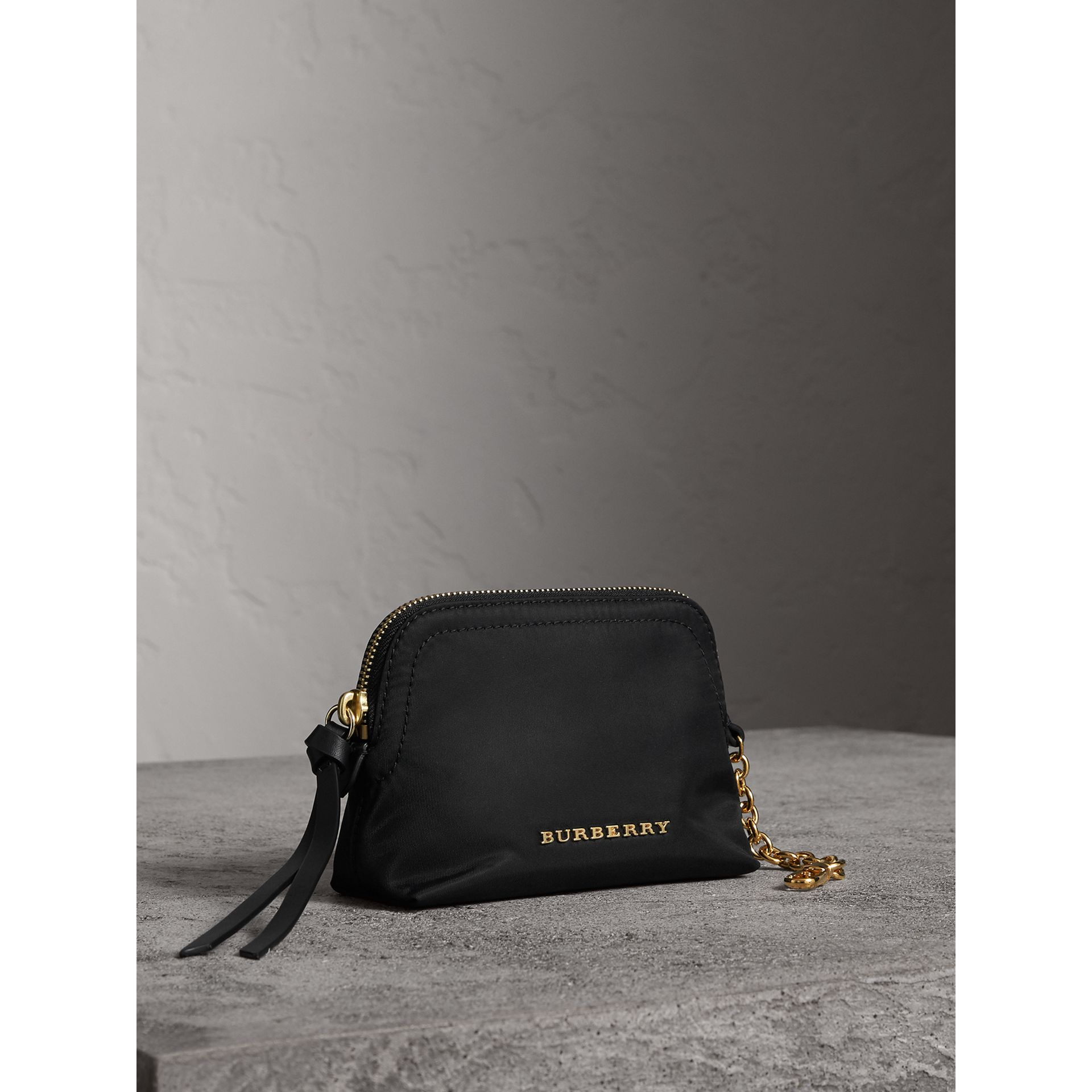 Small Zip-top Technical Nylon Pouch in Black - Women | Burberry - gallery image 6