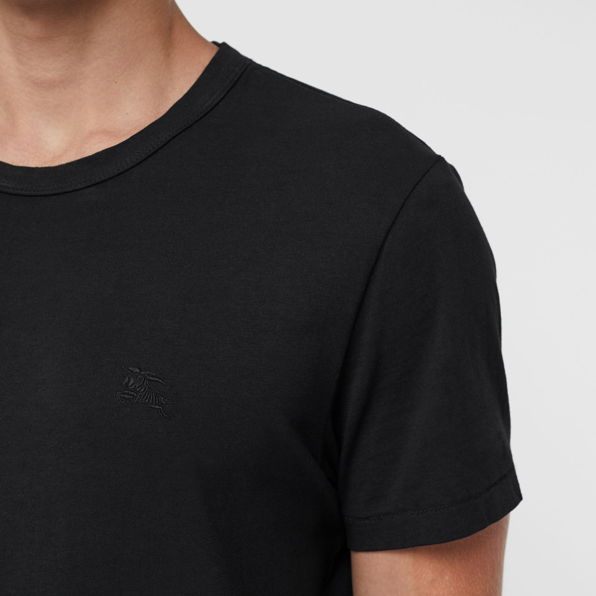 Cotton Jersey T-shirt in Black - Men | Burberry United States - gallery image 1