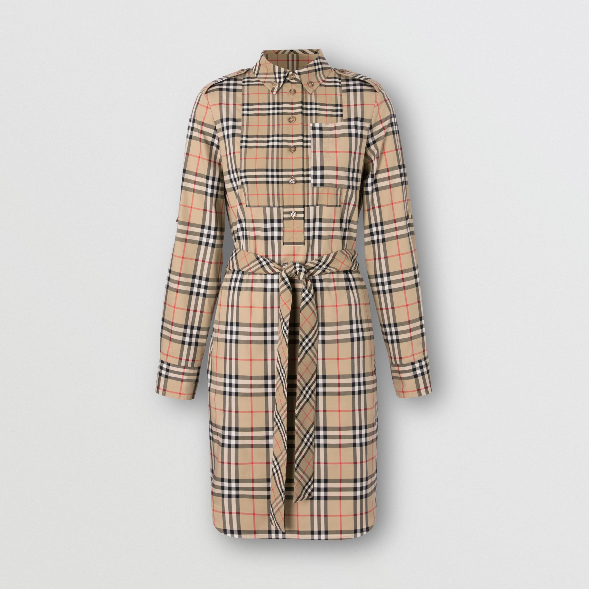 Contrast Check Stretch Cotton Tie-waist Shirt Dress in Archive Beige - Women | Burberry - 4