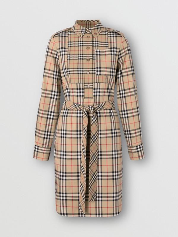 Logo Appliqué Check Cotton Tie-waist Shirt Dress in Archive Beige - Women   Burberry - cell image 3