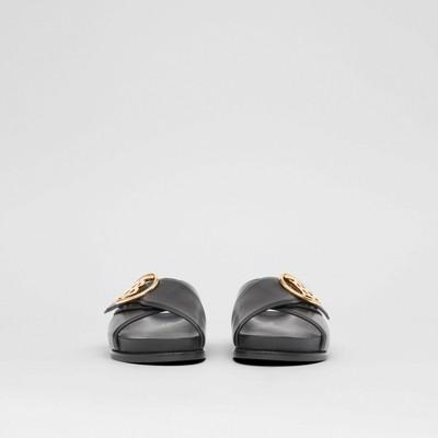 Monogram Motif Leather Slides in Black