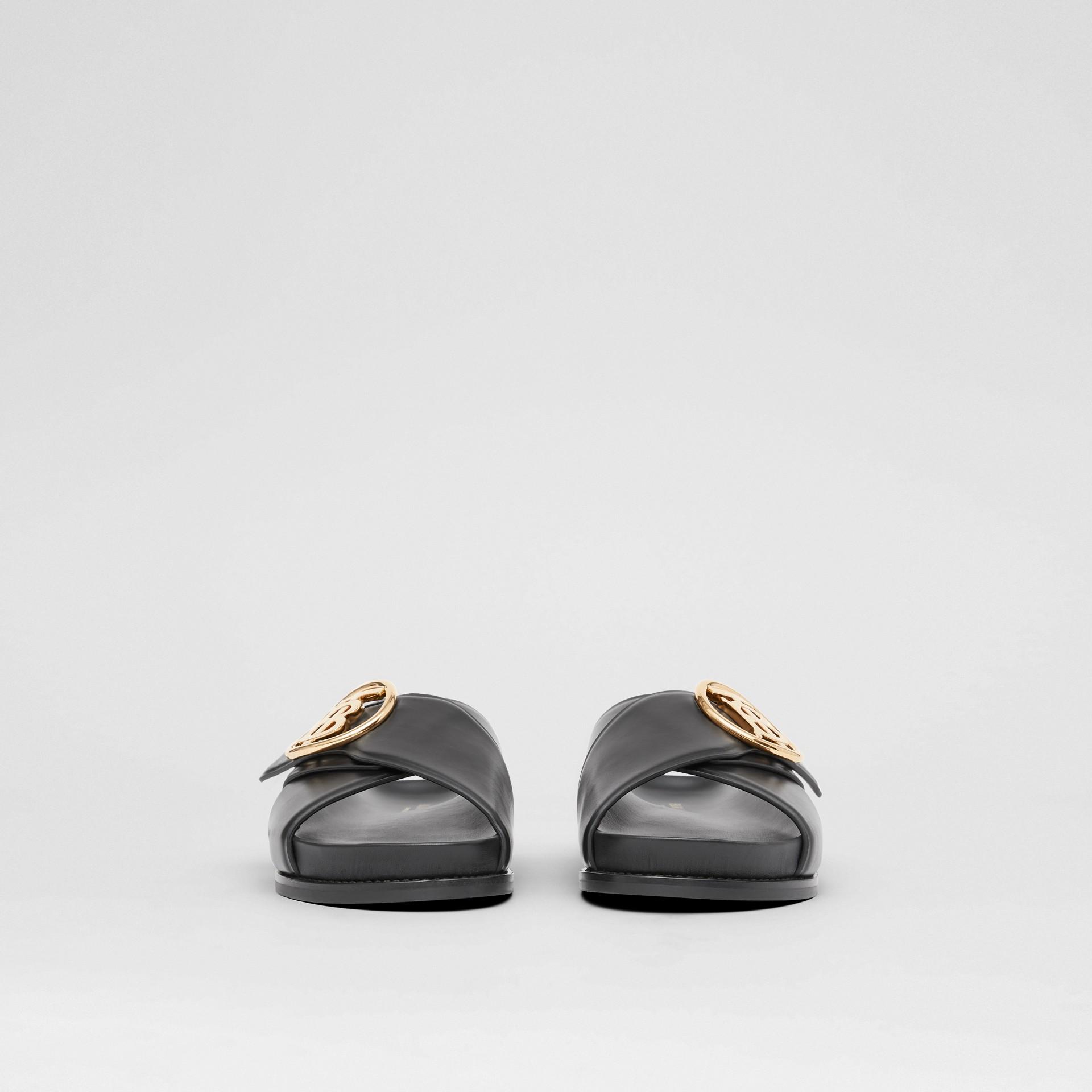 Monogram Motif Leather Slides in Black - Women | Burberry - gallery image 3