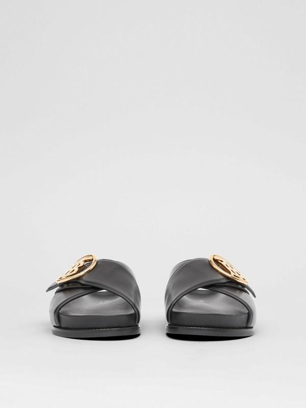 Monogram Motif Leather Slides in Black - Women | Burberry - cell image 3