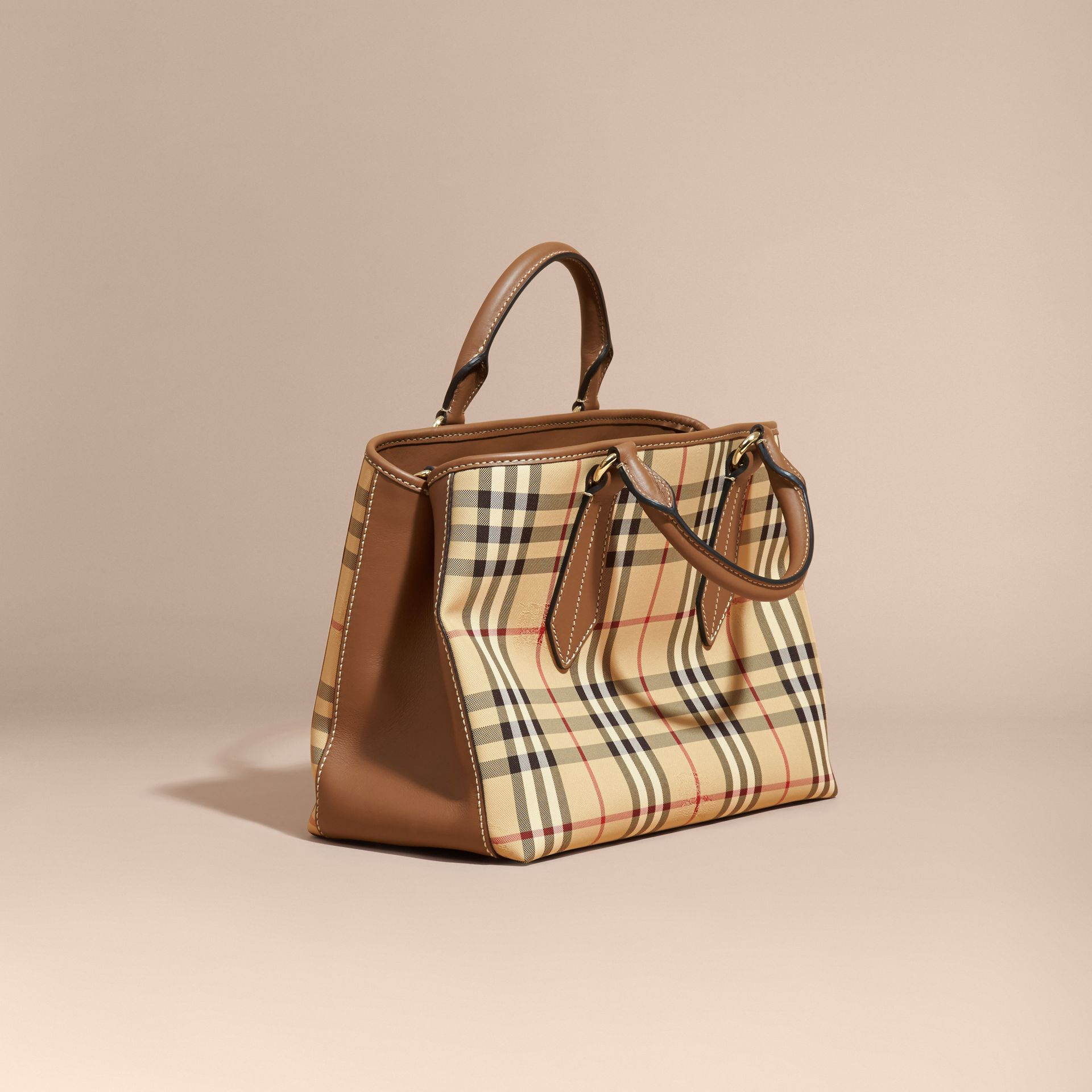 Leather Trim Horseferry Check Tote in Honey/tan - gallery image 5