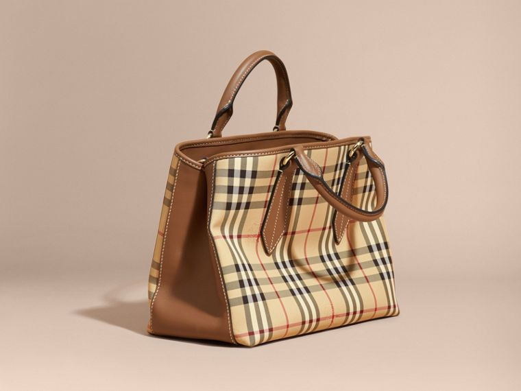 Leather Trim Horseferry Check Tote in Honey/tan - cell image 4