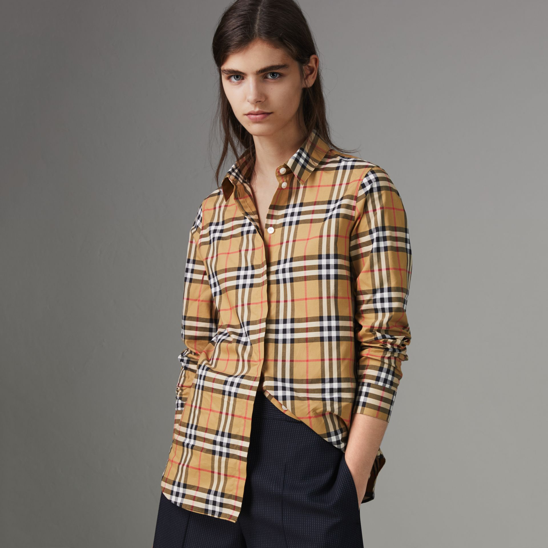 Vintage Check Cotton Shirt in Antique Yellow - Women | Burberry United Kingdom - gallery image 0