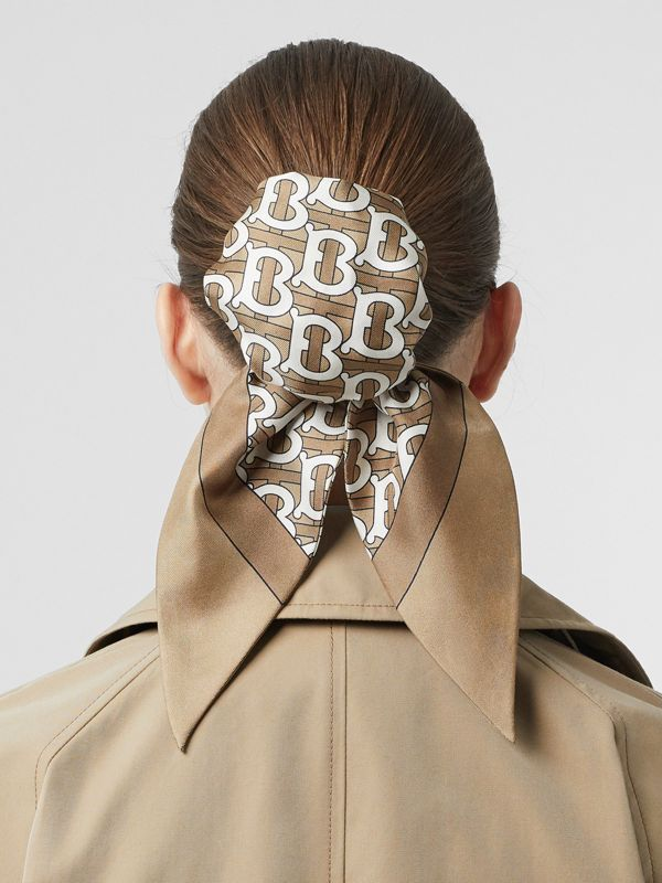 Monogram Print Silk Hair Scarf in Pale Olive - Women | Burberry - cell image 2