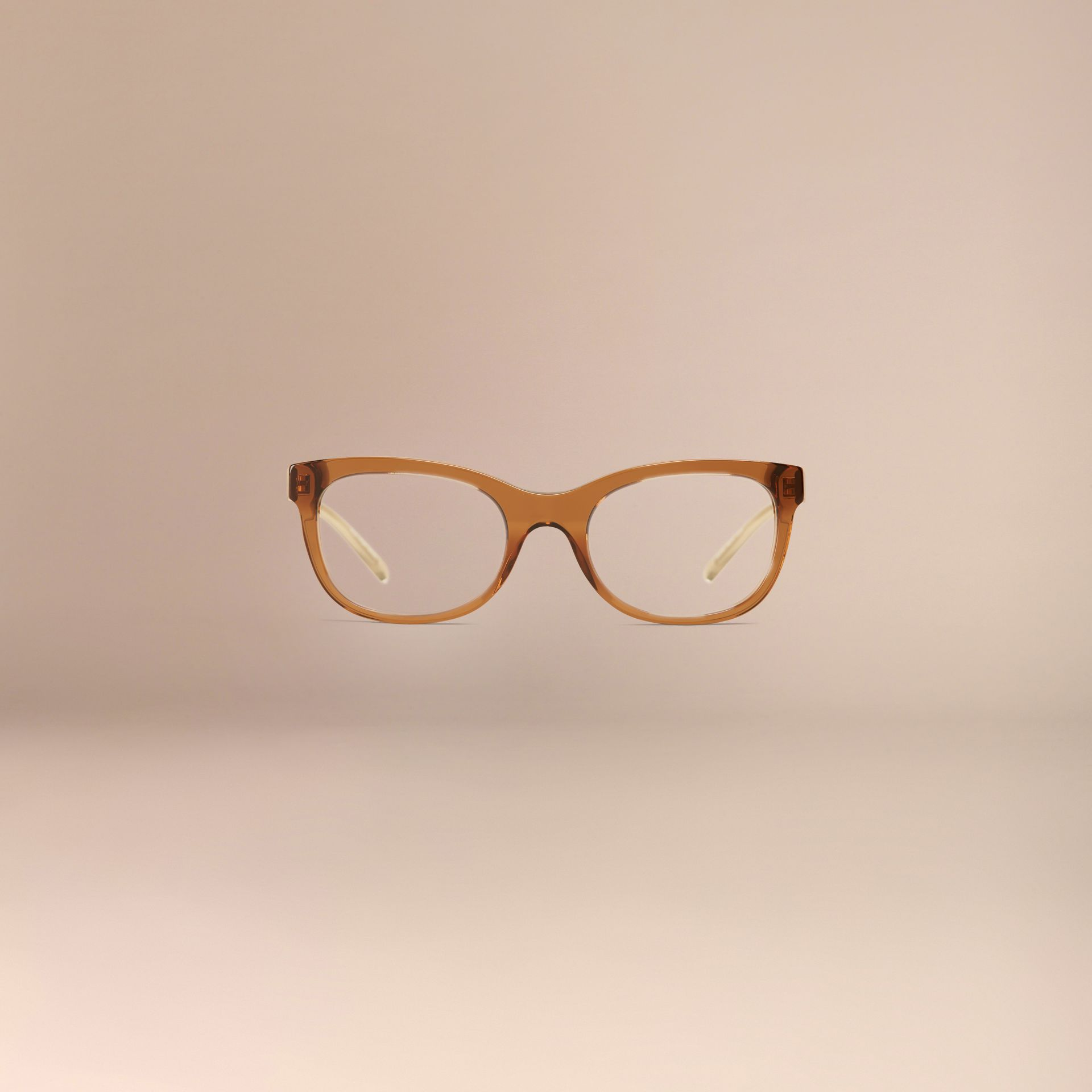 Check Detail Oval Optical Frames Taupe Brown - gallery image 3