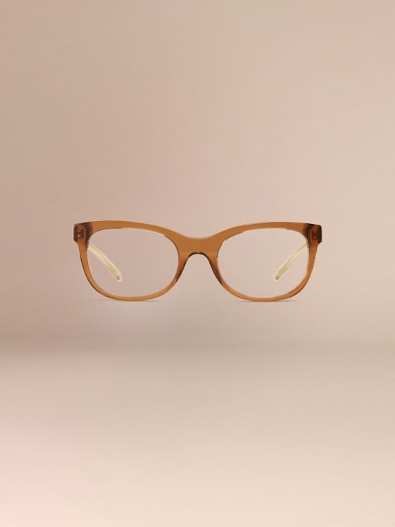 Check Detail Oval Optical Frames Taupe Brown - cell image 2