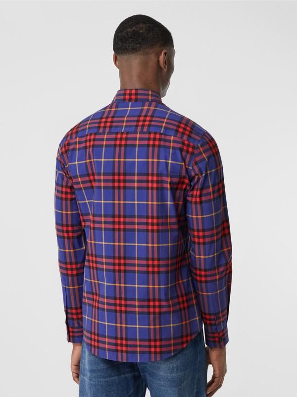 Check Cotton Poplin Shirt in Regency Purple - Men | Burberry - cell image 2