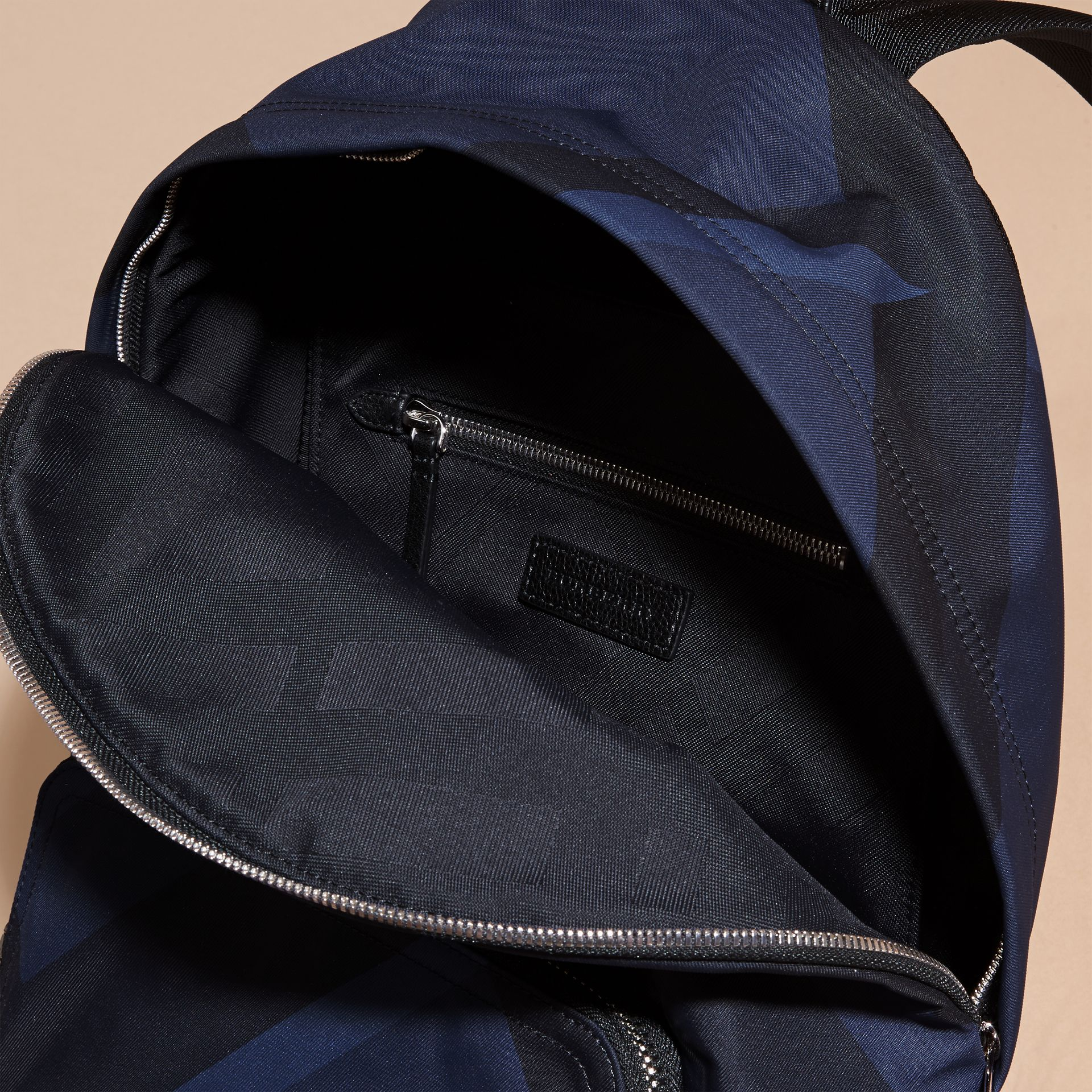 Navy check Leather Trim Check Print Backpack - gallery image 5