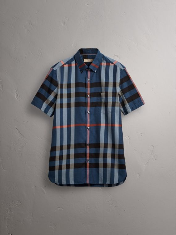 Button-down Collar Short-sleeve Check Cotton Shirt in Ink Blue - Men | Burberry - cell image 3