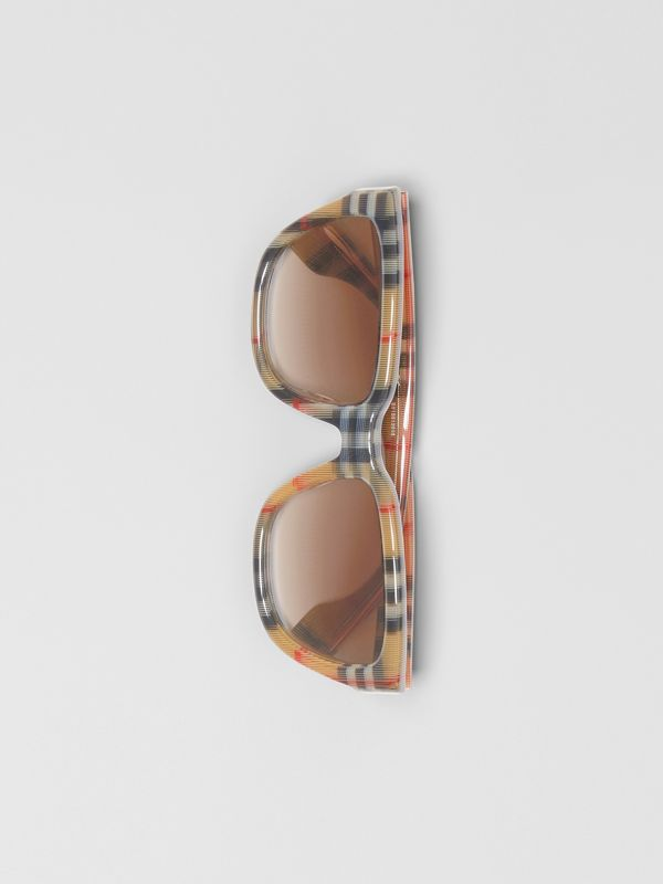 Vintage Check Detail Square Frame Sunglasses in Antique Yellow - Women | Burberry - cell image 2