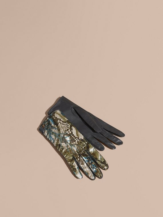 Floral Print Python and Leather Gloves Mineral Blue