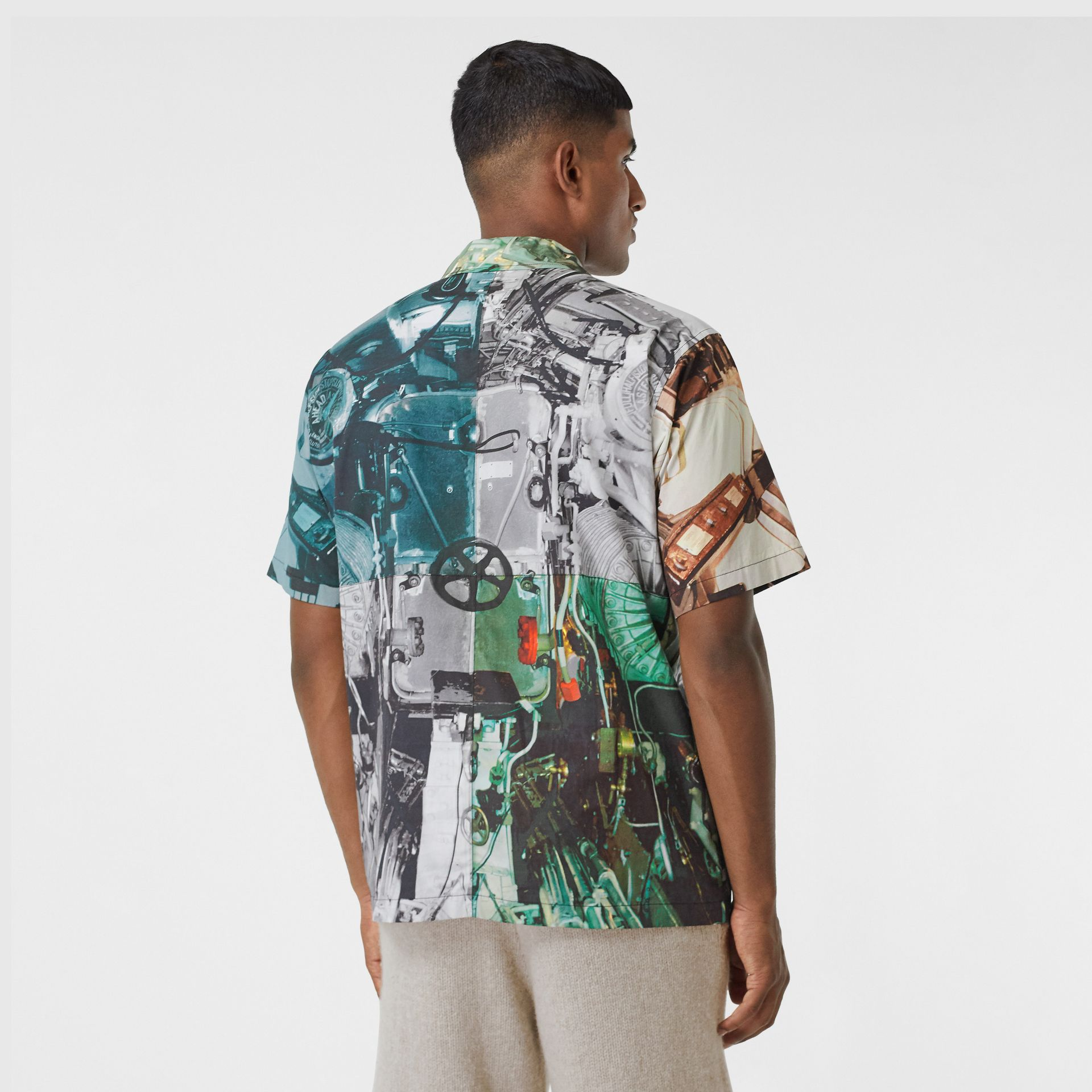 Short-sleeve Submarine Print Cotton Shirt in Multicolour - Men | Burberry - gallery image 2