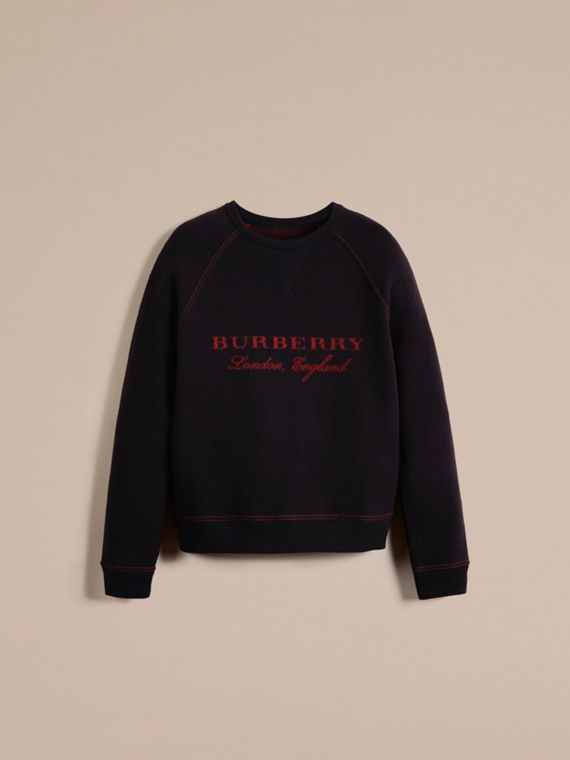 Navy/deep red Wool Blend Sculpted Sweatshirt Navy/deep Red - cell image 2