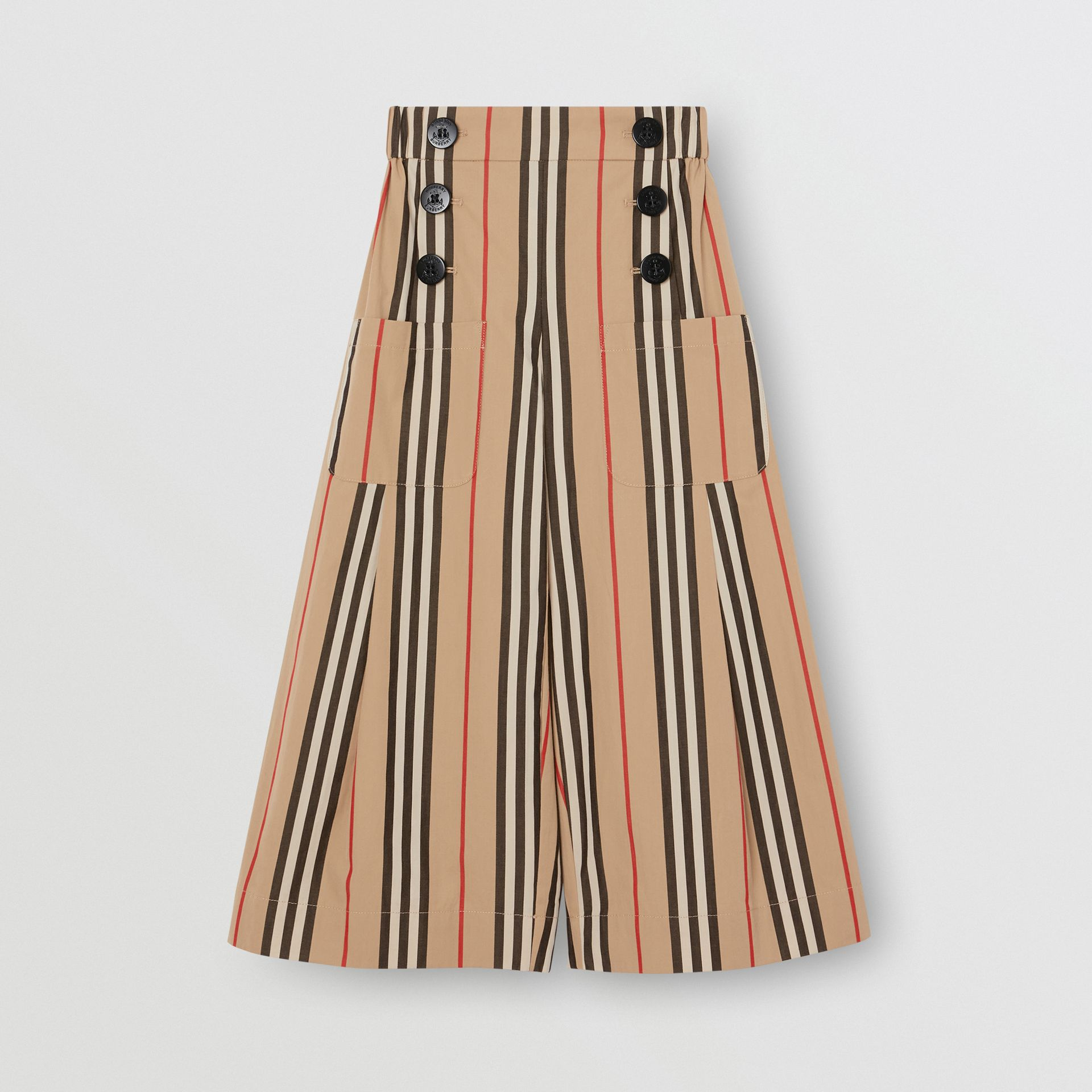 Icon Stripe Cotton Sailor Trousers in Archive Beige | Burberry Australia - gallery image 0