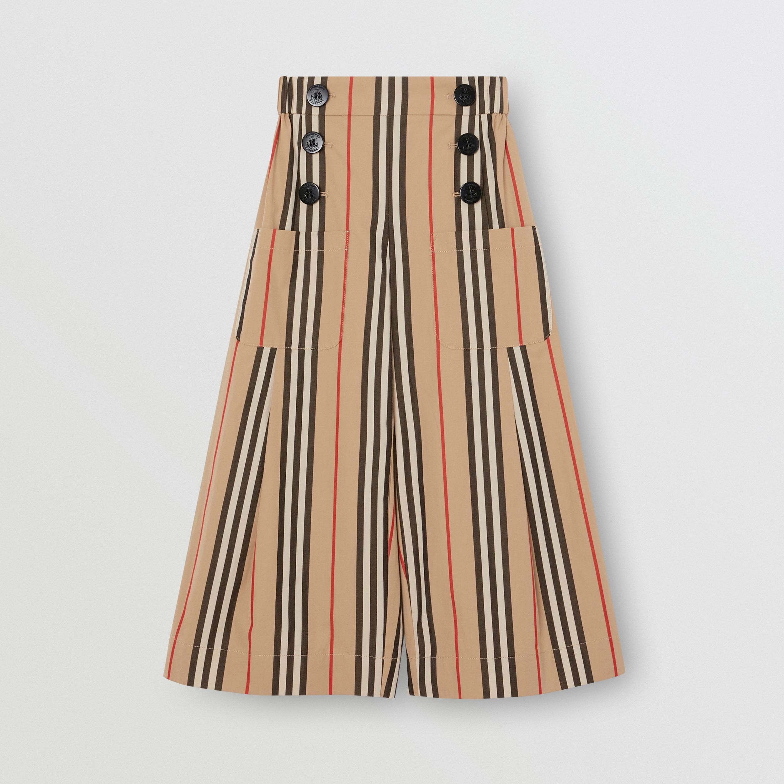 Icon Stripe Cotton Sailor Trousers in Archive Beige | Burberry United Kingdom - 1