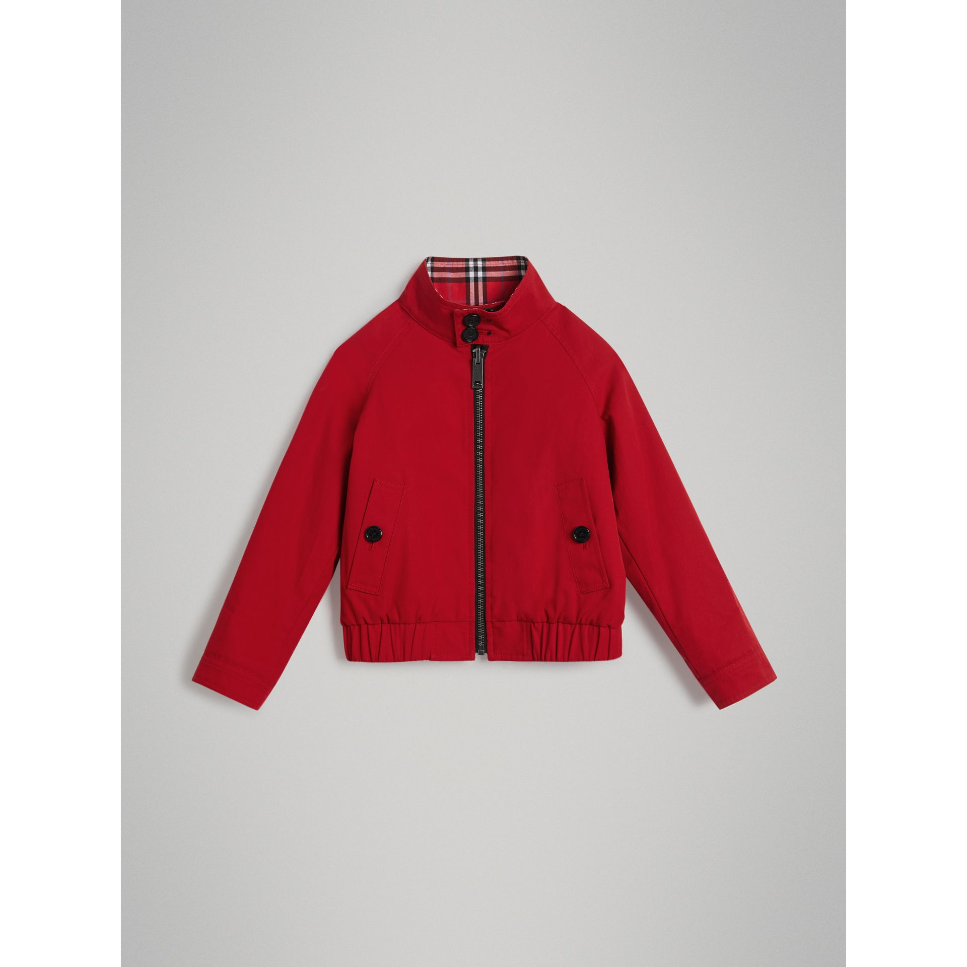 Reversible Check Cotton Harrington Jacket in Bright Red | Burberry - gallery image 0