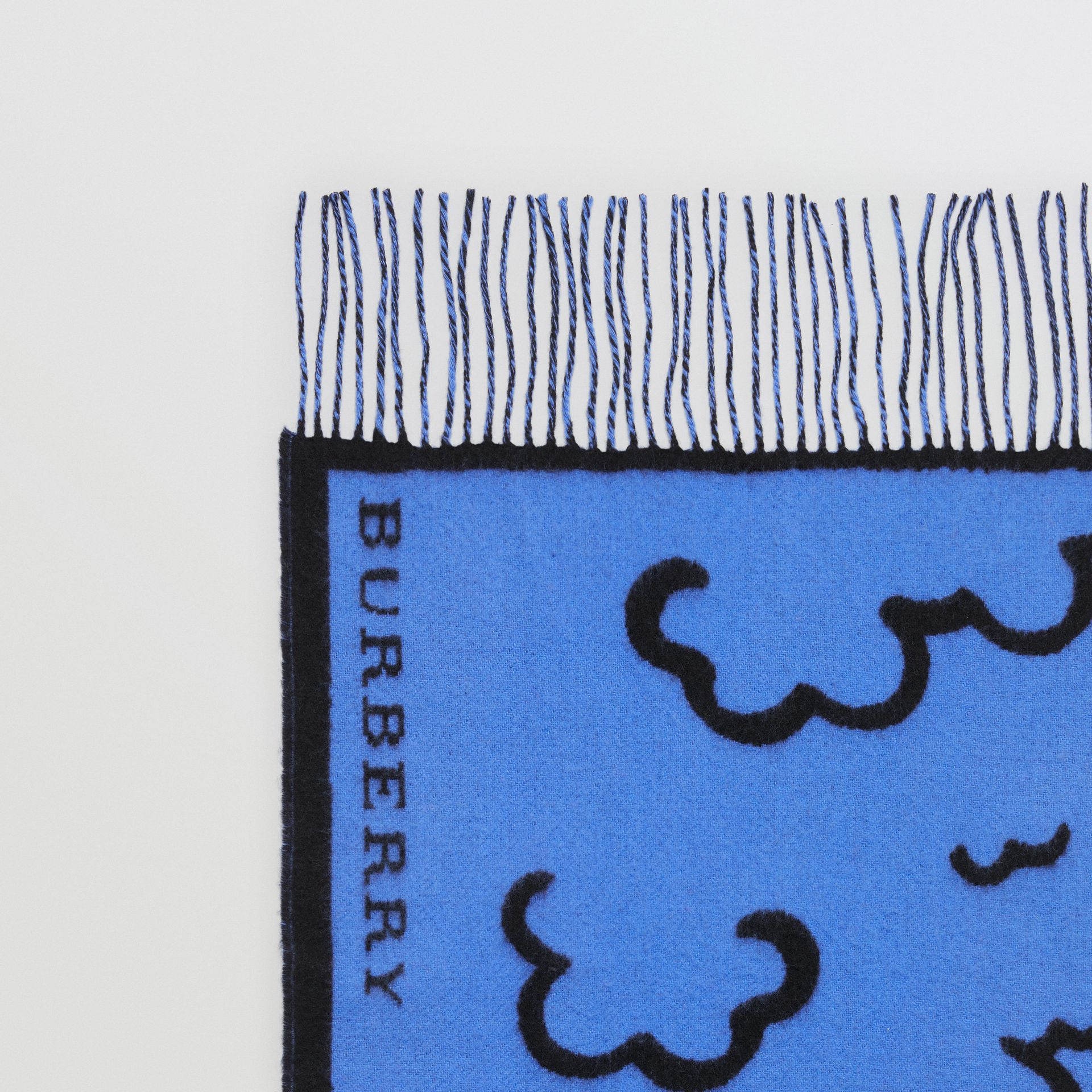London Street Art Wool Cashmere Jacquard Scarf in Indigo Blue | Burberry - gallery image 1