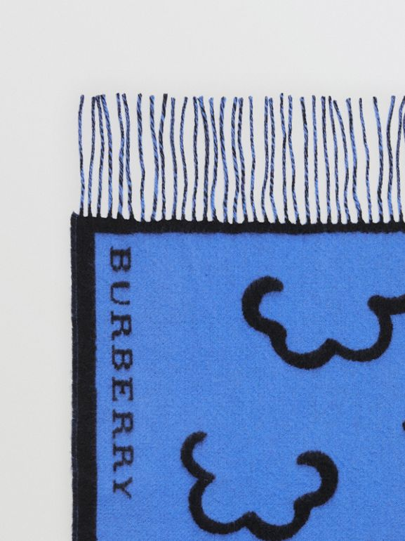 London Street Art Wool Cashmere Jacquard Scarf in Indigo Blue | Burberry - cell image 1