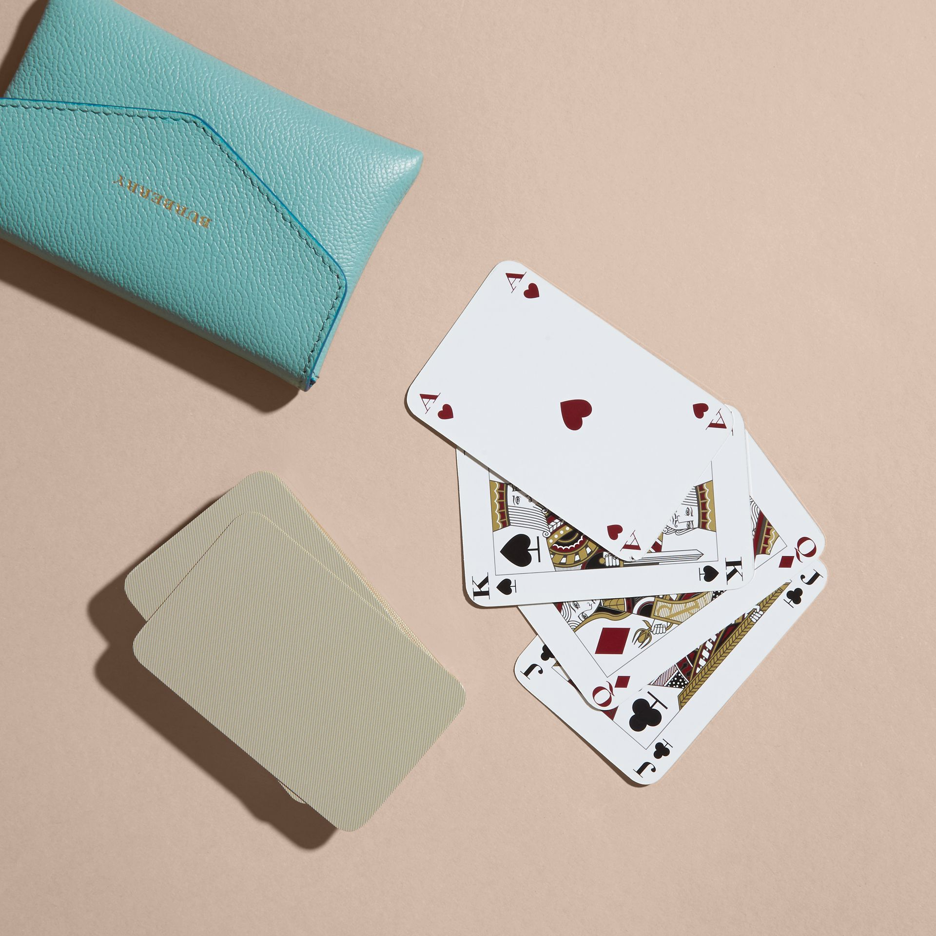 Grainy Leather Playing Card Case in Pale Opal | Burberry - gallery image 4