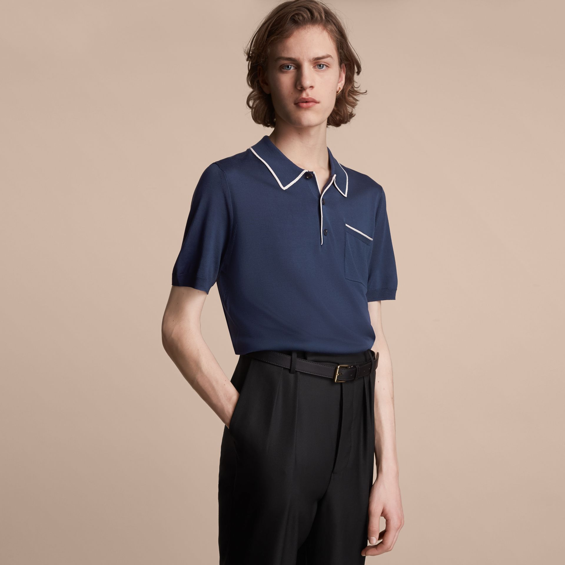 Tipped Detail Knitted Silk Polo Shirt - gallery image 6