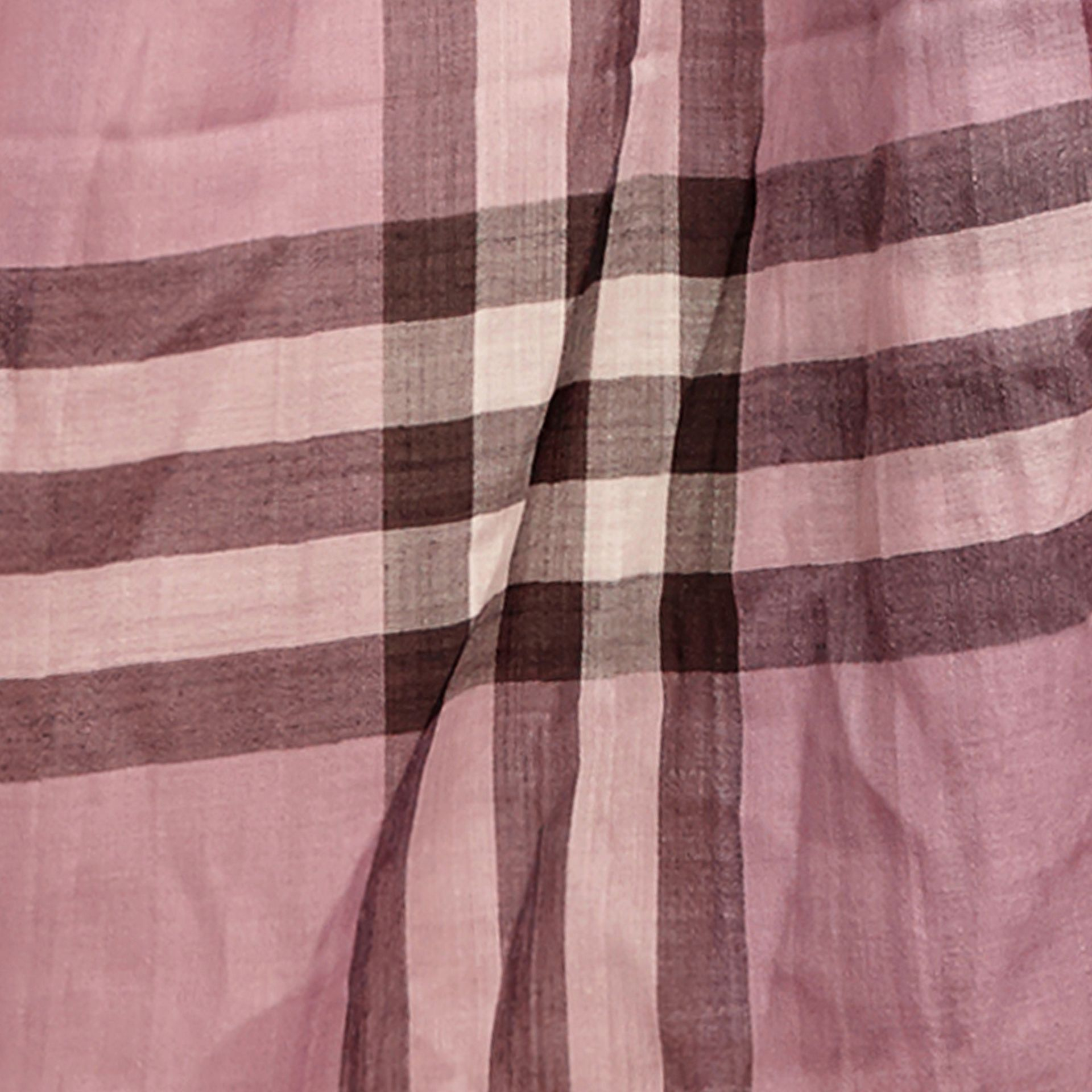 Lightweight Check Wool and Silk Scarf in Pink Heather - gallery image 2