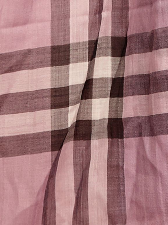 Lightweight Check Wool and Silk Scarf in Pink Heather - Women | Burberry - cell image 1