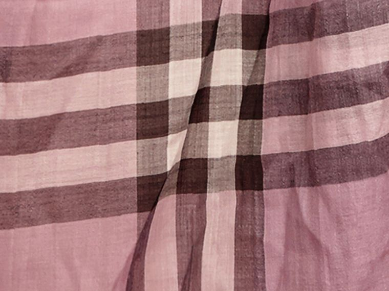 Lightweight Check Wool and Silk Scarf in Pink Heather - cell image 1