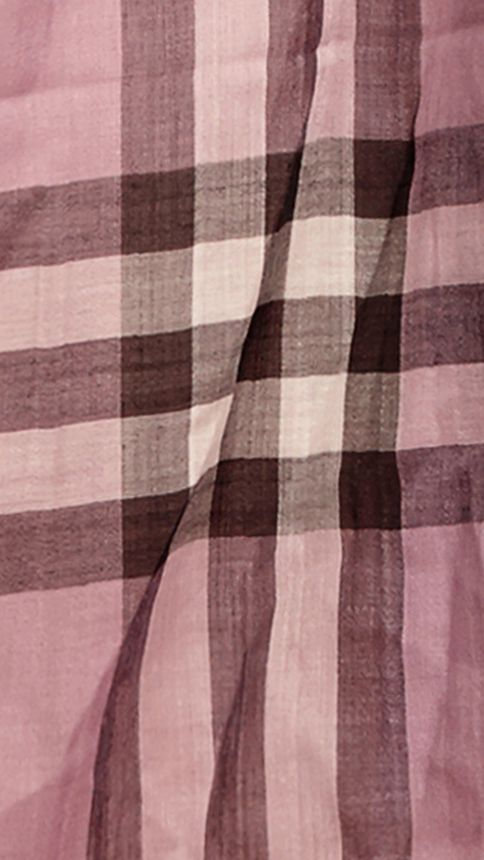 Pink heather check Lightweight Check Wool and Silk Scarf Pink Heather - Image 2