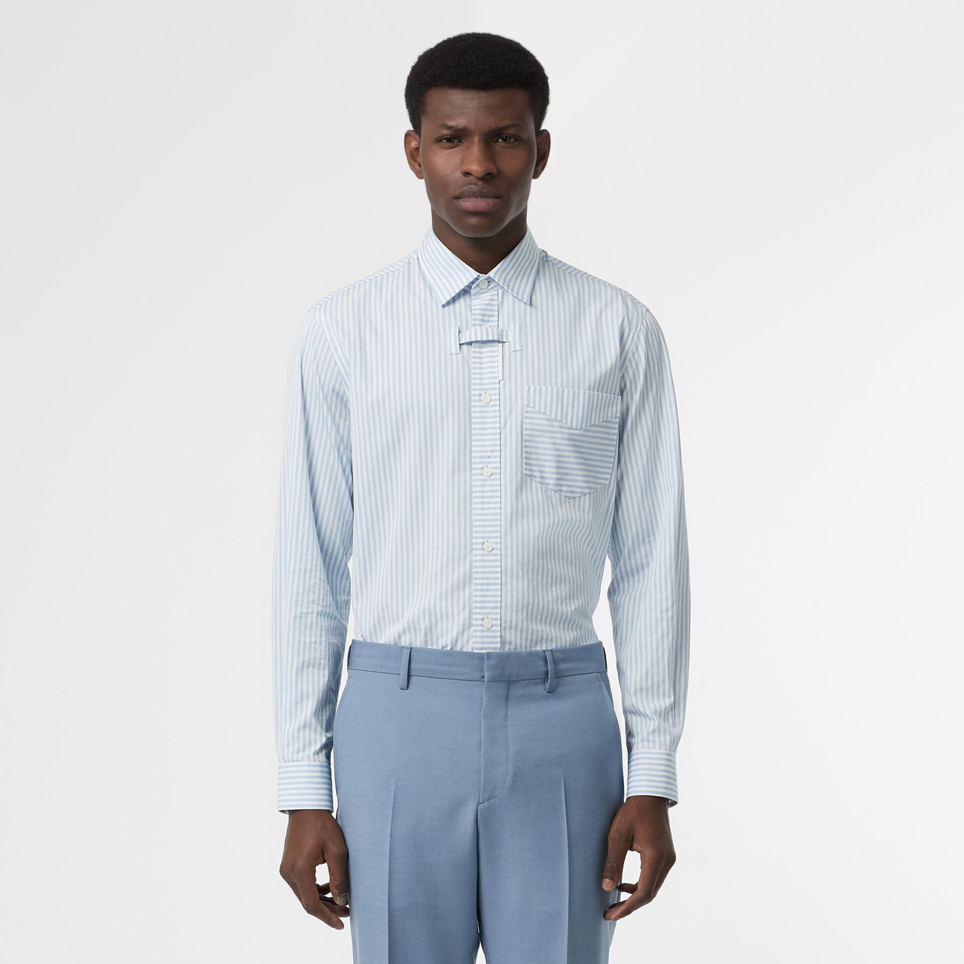 Classic Fit Wool Tailored Trousers in Pale Blue - Men | Burberry Singapore - gallery image 5