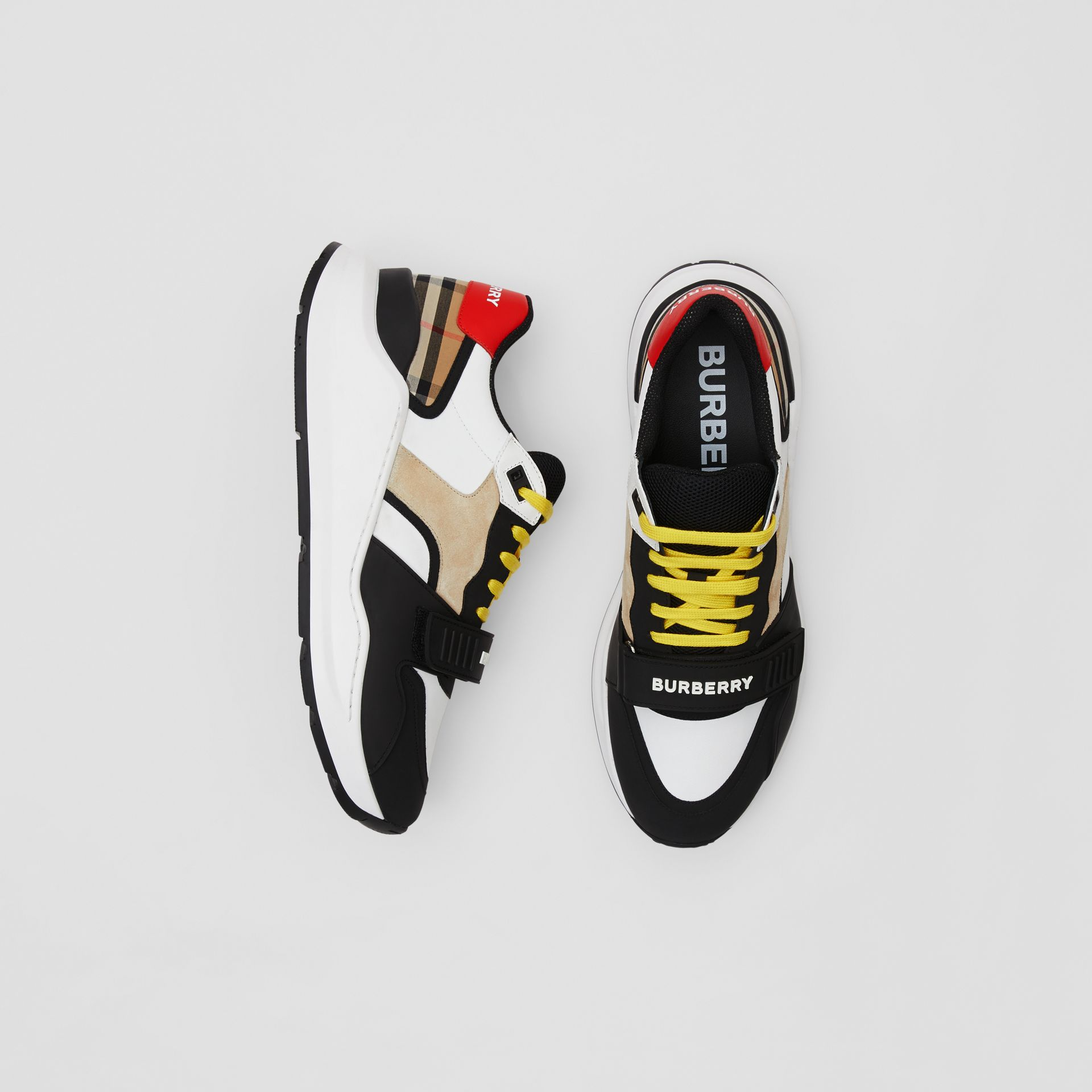 Nylon, Suede and Vintage Check Sneakers in Archive Beige - Men | Burberry - gallery image 0