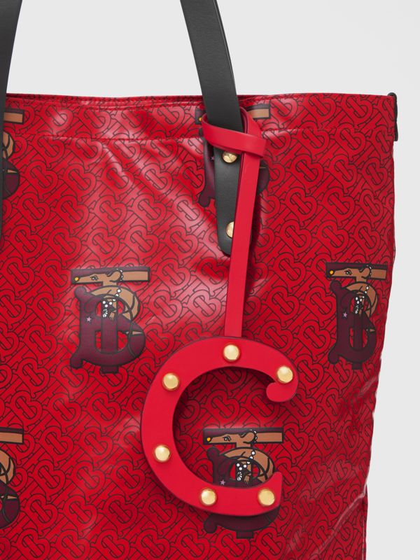 'C' Studded Leather Alphabet Charm in Red/light Gold - Women | Burberry - cell image 3