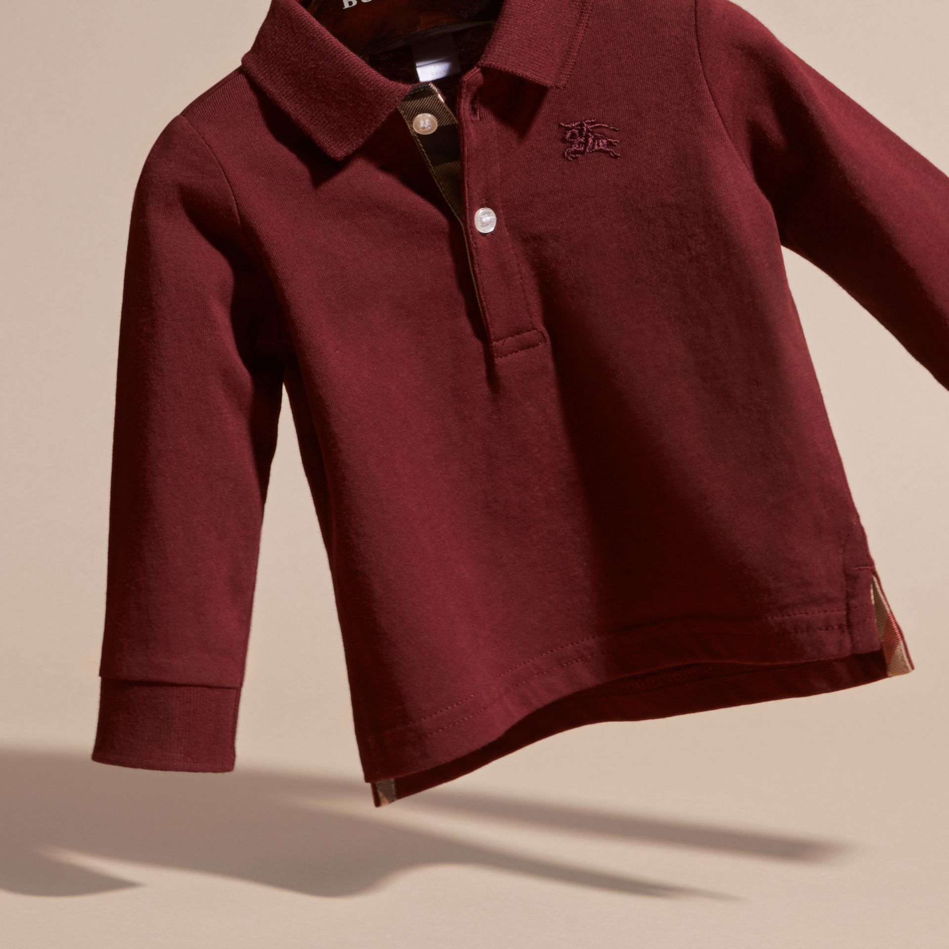 Burgundy red Check Trim Long-sleeved Cotton Polo Shirt Burgundy Red - gallery image 4