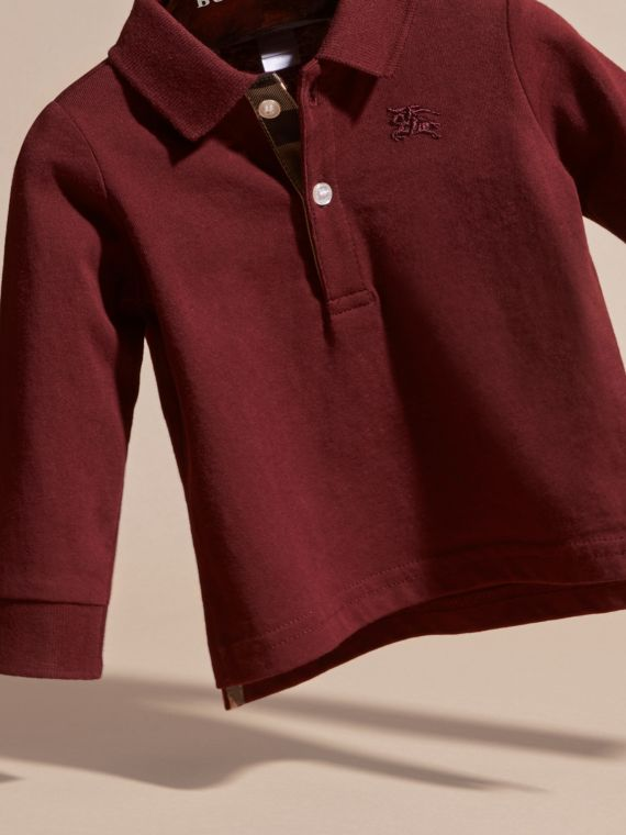 Burgundy red Check Trim Long-sleeved Cotton Polo Shirt Burgundy Red - cell image 3